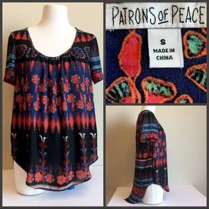 PATRONS OF PEACE two button open back blouse, S